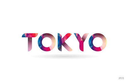 tokyo colored rainbow word text suitable for card, brochure or typography logo design