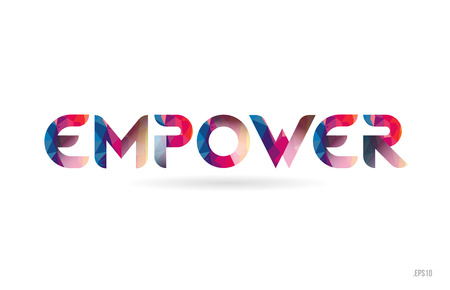empower colored rainbow word text suitable for card, brochure or typography logo design
