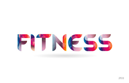 fitness colored rainbow word text suitable for card, brochure or typography logo design
