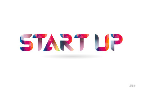 start up colored rainbow word text suitable for card, brochure or typography logo design Logo
