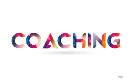 coaching colored rainbow word text suitable for card, brochure or typography logo design