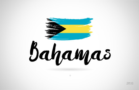 bahamas country flag concept with grunge design suitable for a logo icon design