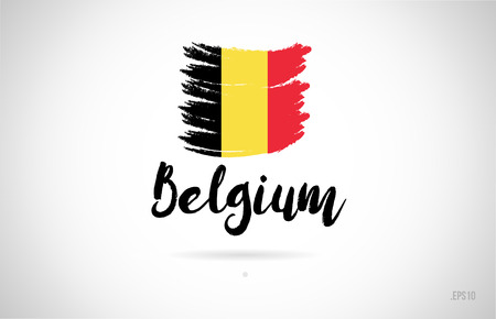 belgium country flag concept with grunge design suitable for a logo icon design