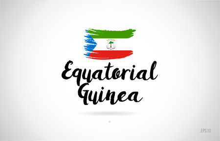 equatorial guinea country flag concept with grunge design suitable for a logo icon design
