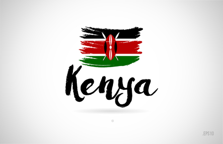 kenya country flag concept with grunge design suitable for a logo icon design Vectores