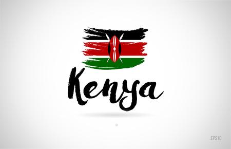 concetto di bandiera del paese kenya con design grunge adatto per un design icona logo