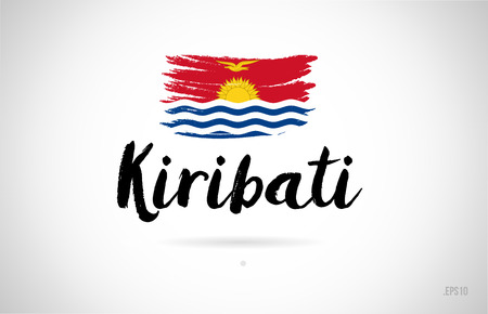 kiribati country flag concept with grunge design suitable for a logo icon design