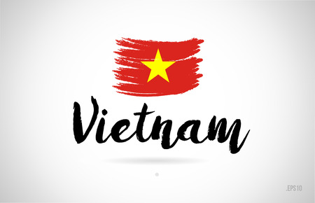 vietnam country flag concept with grunge design suitable for a logo icon design Stock fotó - 109497793