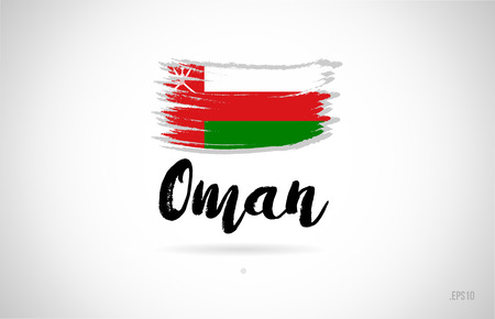 oman country flag concept with grunge design suitable for a logo icon design Ilustrace