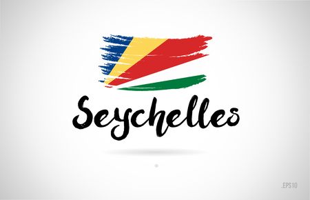 seychelles country flag concept with grunge design suitable for a logo icon design Stock Illustratie