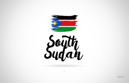 south sudan country flag concept with grunge design suitable for a logo icon design