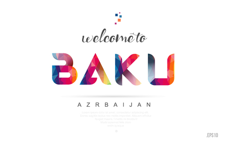 Welcome to baku azerbaijan card and letter design in colorful rainbow color and typographic icon design