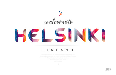 Welcome to helsinki finland card and letter design in colorful rainbow color and typographic icon design Vettoriali