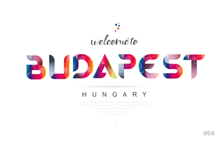 Welcome to budapest hungary card and letter design in colorful rainbow color and typographic icon design