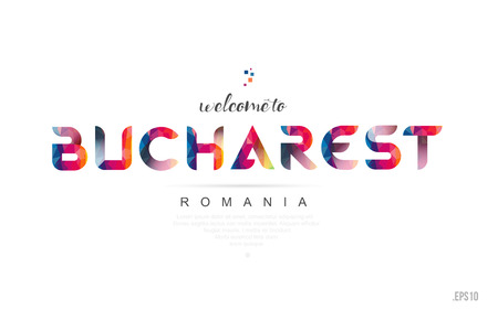 Welcome to bucharest romania card and letter design in colorful rainbow color and typographic icon design