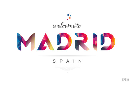 Welcome to madrid spain card and letter design in colorful rainbow color and typographic icon design Vectores