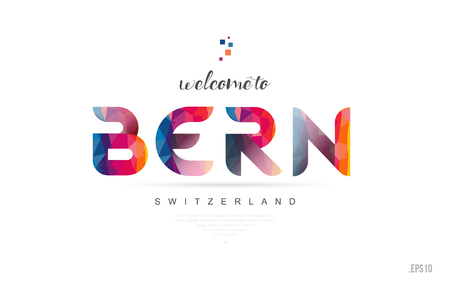 Welcome to bern switzerland card and letter design in colorful rainbow color and typographic icon design Banque d'images - 109498714