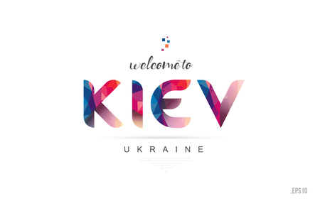 Welcome to kiev ukraine card and letter design in colorful rainbow color and typographic icon design