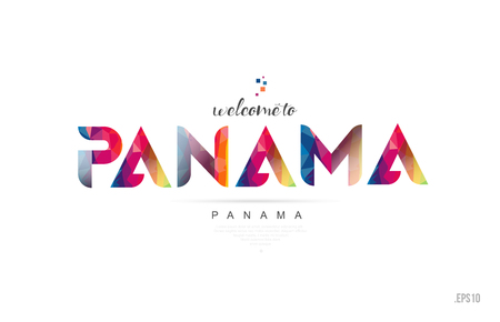 Welcome to panama panama city card and letter design in colorful rainbow color and typographic icon design
