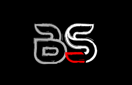 grunge alphabet letter combination bs b s logo design in white red and black colors suitable for a company or business