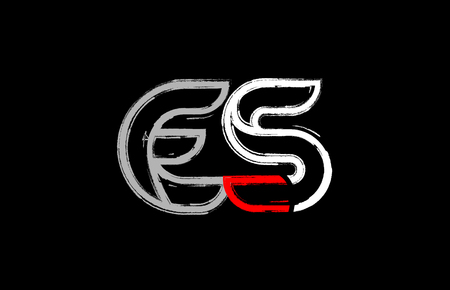grunge alphabet letter combination es e s logo design in white red and black colors suitable for a company or business Logó
