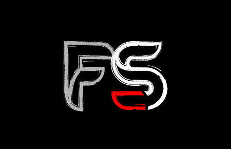grunge alphabet letter combination fs f s logo design in white red and black colors suitable for a company or business