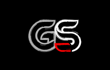 grunge alphabet letter combination gs g s logo design in white red and black colors suitable for a company or business Illusztráció