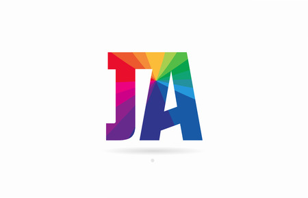 alphabet letter ja j a logo combination design with rainbow colors suitable for a company or business Illustration