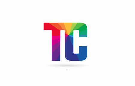 alphabet letter tc t c logo combination design with rainbow colors suitable for a company or business