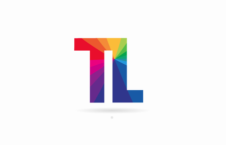 alphabet letter tl t l logo combination design with rainbow colors suitable for a company or business