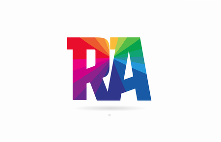 alphabet letter ra r a logo combination design with rainbow colors suitable for a company or business