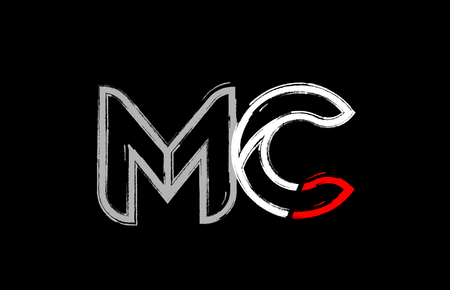 grunge alphabet letter combination mc m c logo design in white red and black colors suitable for a company or business