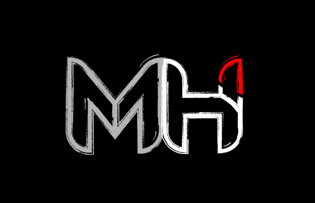 grunge alphabet letter combination mh m h logo design in white red and black colors suitable for a company or business
