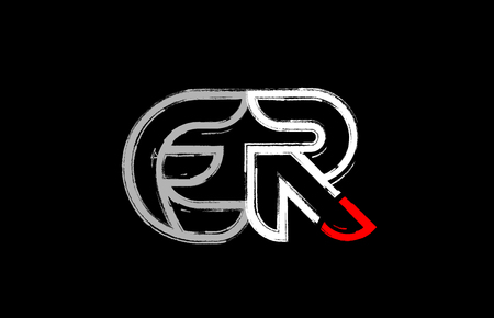grunge alphabet letter combination er e r logo design in white red and black colors suitable for a company or business