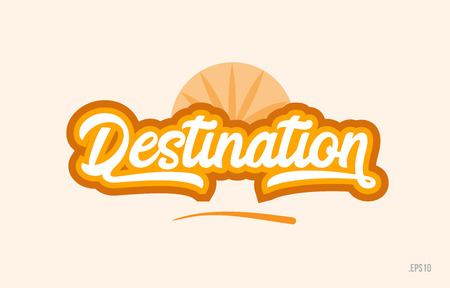 destination word with orange color suitable for card icon or typography logo design Logo