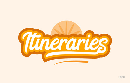 itineraries word with orange color suitable for card icon or typography logo design Vettoriali