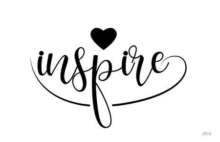 inspire word text with black and white love heart suitable for card, brochure or typography logo design