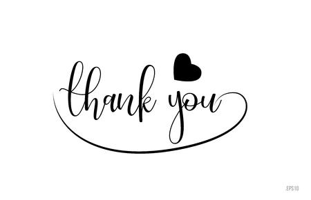 dank u woordtekst met zwart-wit liefdeshart geschikt voor kaart-, brochure- of typografie-logo-ontwerp Logo