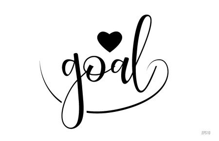 goal word text with black and white love heart suitable for card, brochure or typography logo design