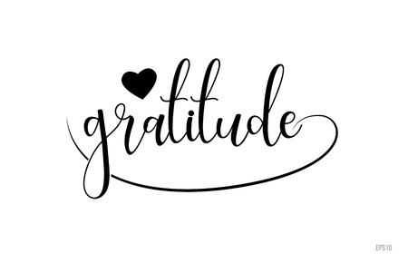 Texto de palabra de gratitud con corazón de amor en blanco y negro adecuado para diseño de logotipo de tarjeta, folleto o tipografía