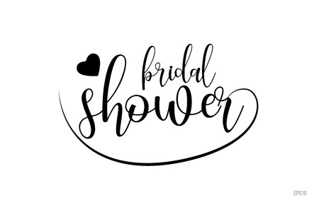 bridal shower word text with black and white love heart suitable for card, brochure or typography logo design Logo
