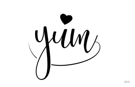 yum word text with black and white love heart suitable for card, brochure or typography logo design