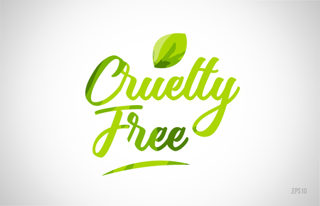 cruelty free green leaf word on white background suitable for card icon or typography logo design