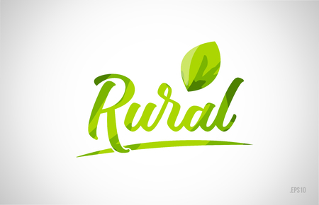 mot de feuille verte rurale sur fond blanc adapté à l'icône de la carte ou à la création de logo de typographie