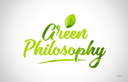 green philosophy green leaf word on white background suitable for card icon or typography logo design Logó