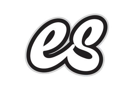 Design of black and white alphabet letter combination es e s suitable as a logo for a company or business Stock Illustratie