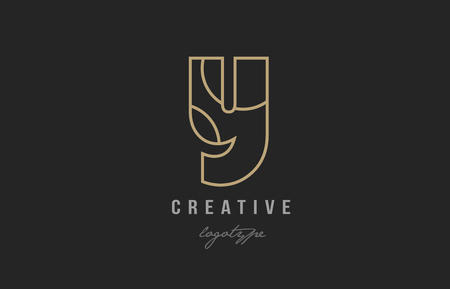 black and yellow gold alphabet letter y logo design suitable for a company or business Çizim