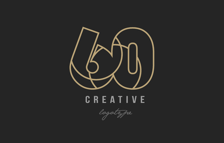 black and yellow gold number 60 logo design suitable for a company or business