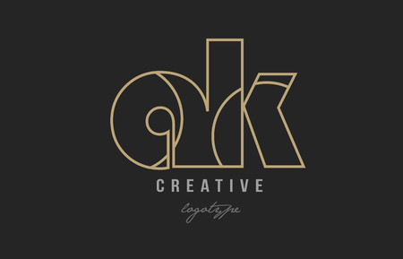 black and yellow gold alphabet letter ak a k logo combination design suitable for a company or business
