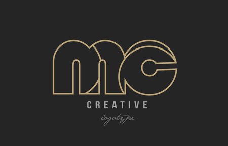 black and yellow gold alphabet letter mc m c logo combination design suitable for a company or business